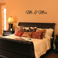"Wall Decal Mr and Mrs Wedding Vinyl Lettering 36""W x 7""H 22381"