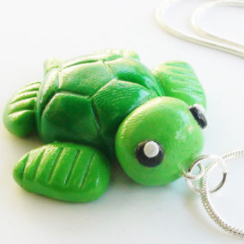 Turtle Sea Life Polymer Clay Necklace Charm by WTFcharms on Etsy