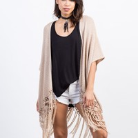 Fringed Knit Cardigan