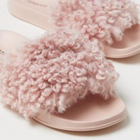 Faux fur slides - Light pink - Ladies | H&M GB