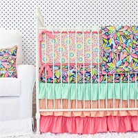 Sorbet Pink and Navy Crib Bedding Set
