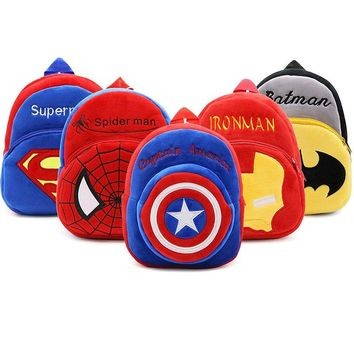 Children Cartoon Schoolbags Anime Captain America Superman Batman Ironman Spiderman Plush Backpacks Kindergarten Kids School Bag