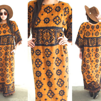 Vintage 70s CARPET Blanket Fringe Bell Sleeve Floral Maxi Dress // Mustard Yellow Navy Blue // Bohemian Gypsy Hippie // XS / Small / Medium