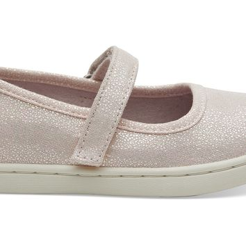 TOMS - Tiny Mary Jane Pink Iridescent Droplets Flats