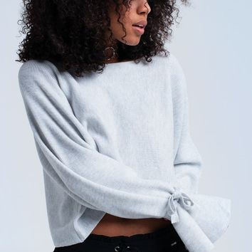 Gray crop sweater with ribbons