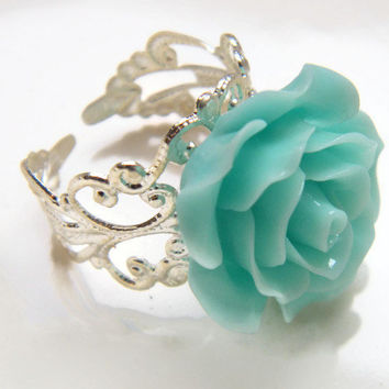 Ladies Flower Ring, Bridesmaid Ring, Ladies Filigree Adjustable Ring,  Mint Green Floral Ring