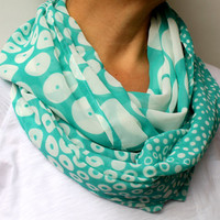 FREE SHIPPING Mint White Polka Dot Infinity Scarf Spring Fashion Women Loop Circle Scarf Chiffon Scarf