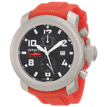 Invicta 1857 Men's Russian Diver Sea Hunter Black Dial Chronograph Red Rubber Strap Watch