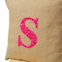 Customized Monogram decorative pillow- Sequin Throw pillows - Burlap pillow cover - Hot pink pillow - Initial Pillow - Cushion cover 18x18