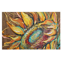 "Brienne Jepkema ""Sunflower"" Yellow Flower Decorative Door Mat"