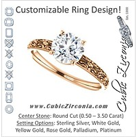 Cubic Zirconia Engagement Ring- The Brittney (Customizable Round Cut Solitaire with Scrolled Engraving)