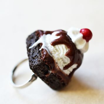 Brownie Ice Cream Sundae Miniature Food Ring, Adjustable, Polymer Clay