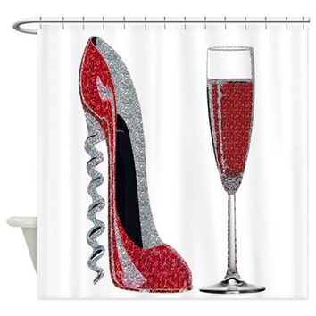 GLITTER RED CORKSCREW STILETTO AND CHAMPAGNE GLAS