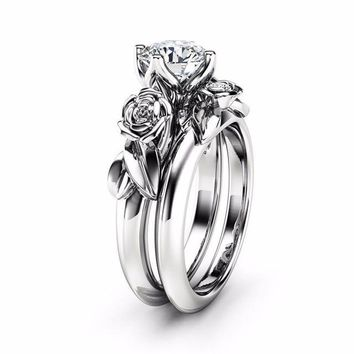 ROXI New 2pcs Austrian Crystal Ring Set Jewelry Cubic Zirconia Rose Flower Wedding Rings for Women anillos mujer