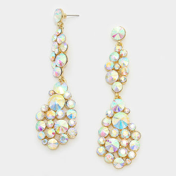 """"""" Bubble Drop"""" AB Iridescent Crystal Earrings Gold Tone"""