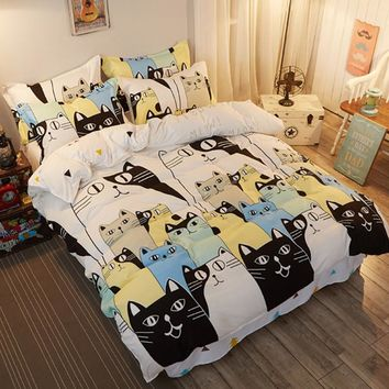 Summer bedding set Cat Family duvet cover white bed set cartoon horse flat sheet elk bedclothes New Pastoral style home textile
