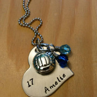 Hand Stamped Volleyball Necklace - Girls Volleyball Heart Necklace - Volleyball Team Gift - Team Colors