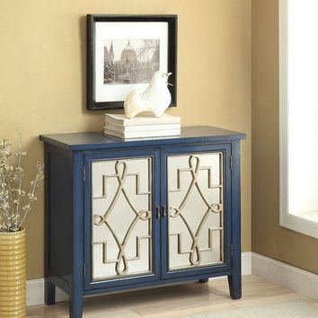 Kacia collection antique dark blue finish wood and glass fronts hall console table with 2 doors