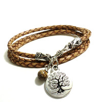 Tree of LIfe Leather Wrap Bracelet Yoga Neutral Brown Jewelry Wisdom Charm Spiritual Unique Gift For Him or Her Christmas Stocking Stuffer