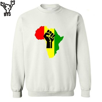 BTS AFRICA Power Rasta Reggae Music Logo men's sweatshirt Autumn winter  man Camisetas Print casual  fleece hoodies sweatshirts
