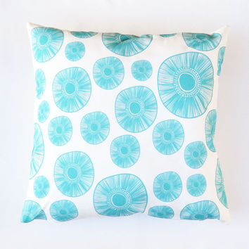 "Minimalist Pillow Case , Decorative Pillow, Throw Pillow, Cushion Cover, Pillow Cover, Turquoise Kids Pillow, Home Decor 16"" x 16"""