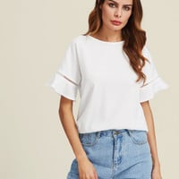 Ladder Lace Insert Trumpet Sleeve Top