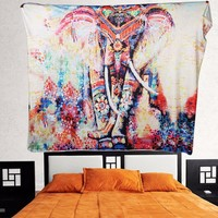 Creative Colored Printed Decoration Tapestry Wall Carpet Elephant Tapestry for Living Room Bed Room Home Decoration 130cmx150cm