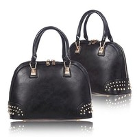 Retro Rivets Solid Color Shell Handbag Shoulder Messenger Bag