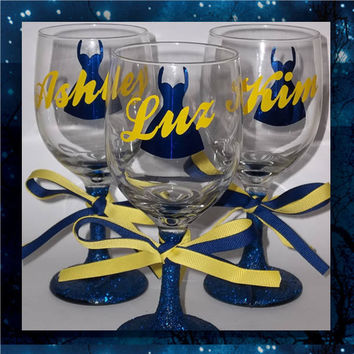 Fancy Dress with Name   Set of 3 * wedding glasses * glitter wine glasses * bridal party glasses * bride's wine glass * special occasion