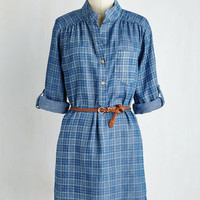 Long 3 Styled All the While Tunic in Chambray Plaid