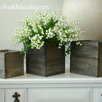 wood boxes woodland planter flower box rustic barn square pot lily of the valley vases for wedding wooden boxes rustic chic wedding