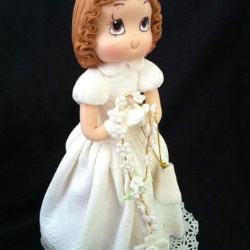 First Communion Girl Cake Topper, Baptism and  Communion Girl With White Gown and Purse Holding White Rosary, First Communion Girl Topper, Baptism Girl