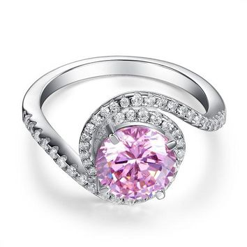 Twist Curl 925 Sterling Silver Wedding Engagement Ring 2 Ct Fancy Pink Created Diamond Promise Anniversary