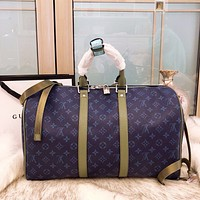 LV Trending High Quality Women Men Stylish Monogram Leather Blue Luggage Travel Bags Tote Handbag I-BCZ(CJZX)