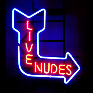 Live Nudes Arrow Neon Bar Sign