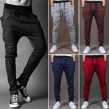 Men Fashion Harem Pants Casual Sweatpants Trousers Drop Crotch Pants