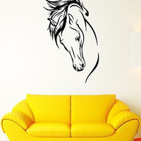 Wall Decal Horse Mane Mare Animal Shooves Stallion Head Vinyl Stickers (ed231)