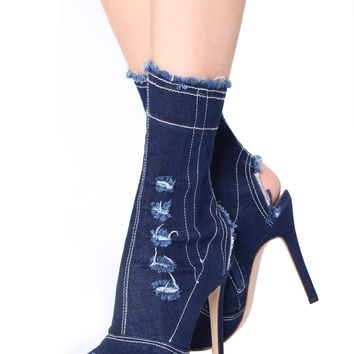 Miss Circle Dark Jean Peep Toe Ankle Boots