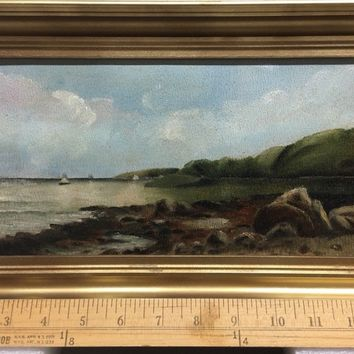 antique oil painting Original On Academy Board (1890s)