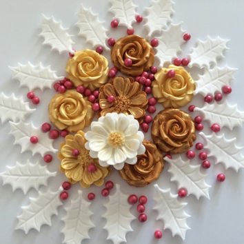 CHRISTMAS ROSES edible sugar paste flowers cupcake holly toppers decorations