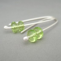 Pale Lime Green Dangle Earrings. Czech Glass and Sterling Silver Drop Earrings. | The Silver Forge Handcrafted Jewellery