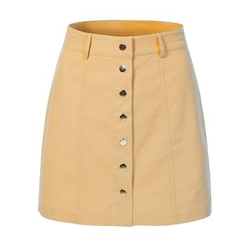 High Waisted Button Closure Front A-Line Mini Skirt