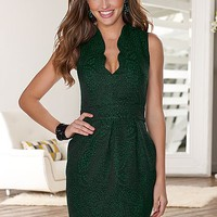 Scallop deep v neck dress