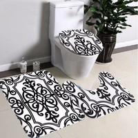 Bathroom Non-slip Contour Rug Set 3Pcs Black White Mix Bath Pedestal Rug Lid Toilet Mat Seat Cover