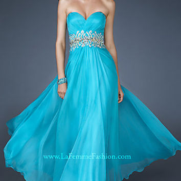 La Femme Strapless Evening Gown with Beaded Waist