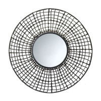 Rattan Look Wall Mirror