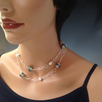 Icelandic, necklace, All Sterling and Hill Tribe Silver, long necklace, Venetian Murano glass, handmade jewelry, double strand choker