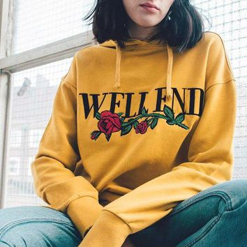 LMFHQ9 Fall Winter Long Sleeve Print Floral Yellow Pullover Hoodies