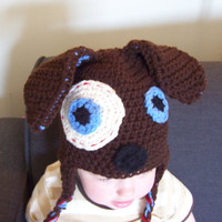 crochet puppy hat boy animal hat 6 to 12 by stitchesbystephann