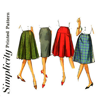 1960's Skirt Pattern Waist 24 UNCUT Simplicity 5627 A Line Skirt Sheath Skirt Flared Skirt Box Pleat Skirt Womens Vintage Sewing Patterns